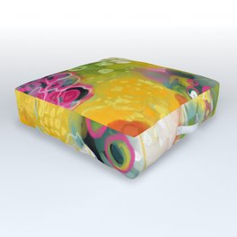 abstract floral art in yellow green and rose magenta colors Outdoor Floor Cushion