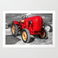 porsche Art Prints featuring Porsche Tractor by Rob Hawkins Photography