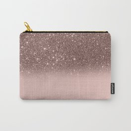 Rose Gold Glitter Ombre Carry-All Pouch