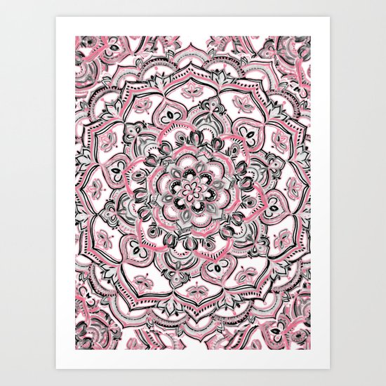 Magical Mandala in Monochrome + Pink Art Print