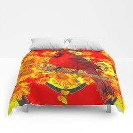 RED CARDINAL YELLOW SUNFLOWERS RED ART Comforters
