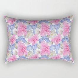 Pink Glad Blue Iris Begonia Flowers Rectangular Pillow