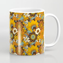 70s Retro Flower Power 60s floral Pattern Orange yellow Blue Coffee Mug