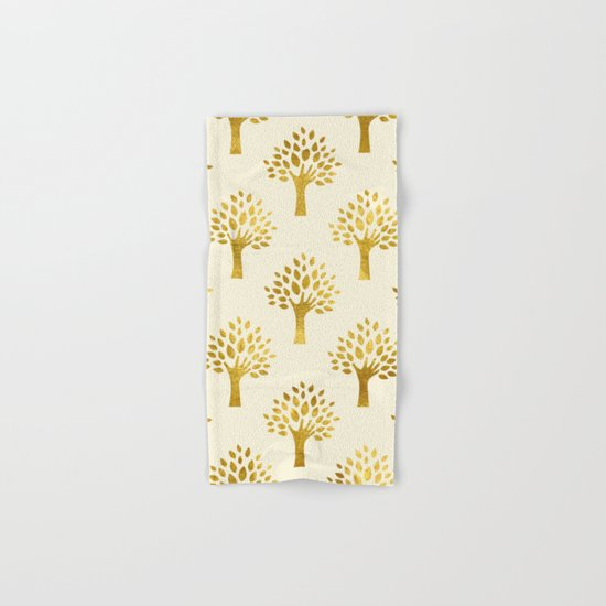 Cream Gold Foil 02 Hand & Bath Towel