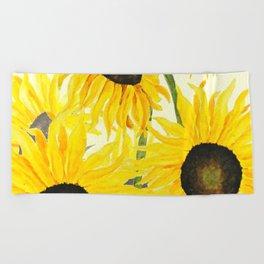 sunflower watercolor 2017 Beach Towel