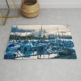 Early Boat Fog // Lake Dillon Colorado Nautical Harbor Docking of the Boats Rug