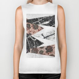 Modern Chic Black White Marble and Rose Gold Geo Biker Tank