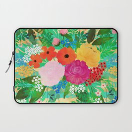 Cute Watercolor Red & Yellow Floral Biscay Green Design Laptop Sleeve