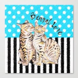 Bengal Cats Polka Dot Watercolor Love Canvas Print