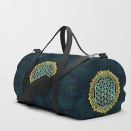 Flower of life gold an blue texture  glass Duffle Bag