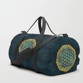 Flower of life gold an blue texture  glass Duffle Bag