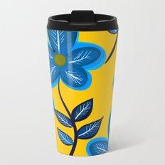 Blue Flowers and Yellow Pattern Metal Travel Mug