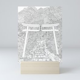 Shikaumi Shrine in Japan - Line Art Mini Art Print