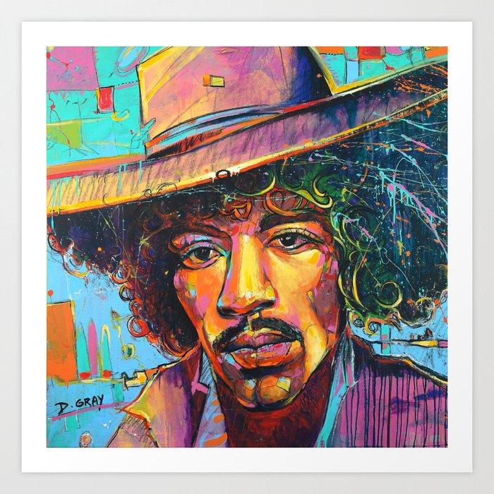 Large Jimi Hendrix Wall Art Acrylic Painting Pop Art American Icon by  modern artist Damon Gray Art Print by damongray