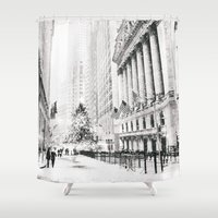 new york city Shower Curtains featuring New York City Christmas by Vivienne Gucwa