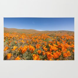 Blooming poppies in Antelope Valley Poppy Reserve Rug