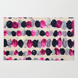 Beads of Black, Pink & Silver - abstract painting Rug