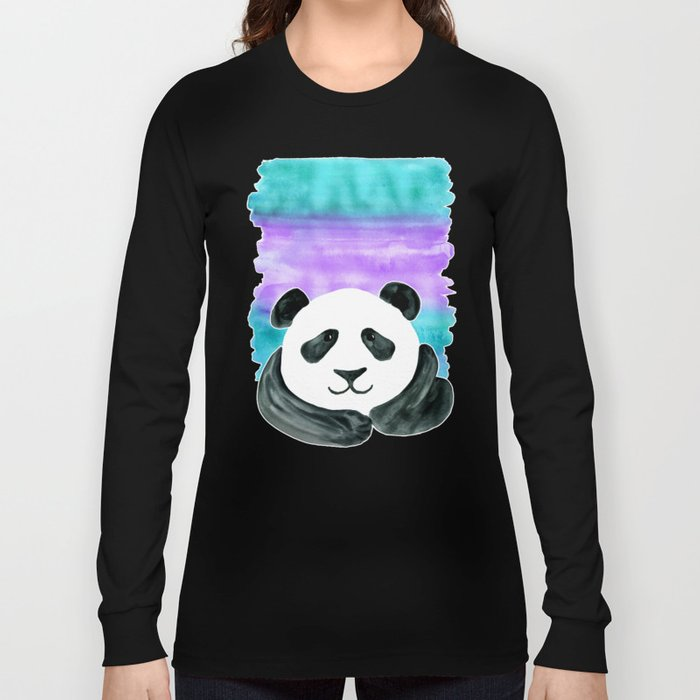 Lazy Panda - purple & aqua watercolor Long Sleeve T-shirt