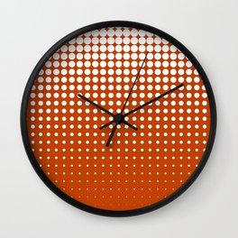 Cool modern techno shrinking polka dots white on mahogany Wall Clock