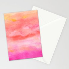 Bright pink orange sunset watercolor hand painted Stationery Cards