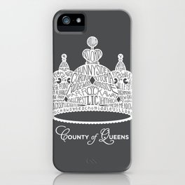 County of Queens | NYC Borough Crown (WHITE) iPhone Case