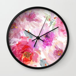 Big Watercolor Flowers in Violet and Pink Wall Clock