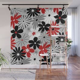 Funky Flowers in Red, Gray, Black and White Wall Mural