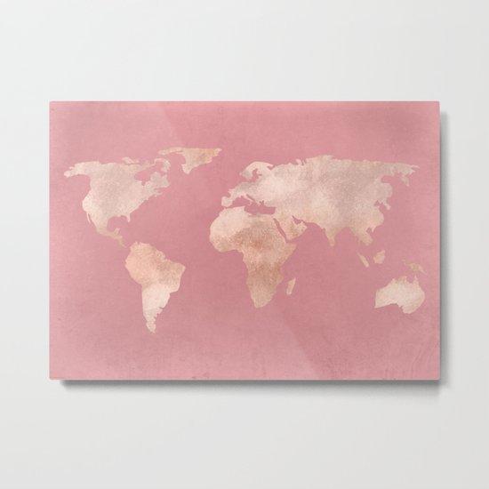 Rosegold World Map Sans Type Metal Print