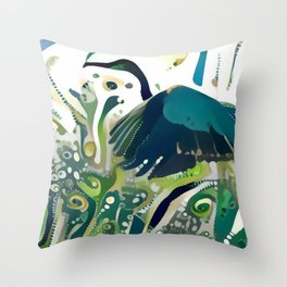 Heron Taking Flight Throw Pillow