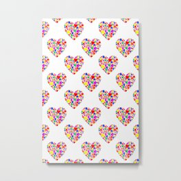 Rainbow Heart Pattern Metal Print