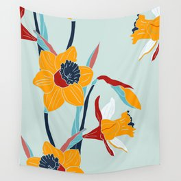Mid Century spring floral Wall Tapestry