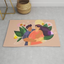 love couple hug on background with leaves and flowers Rug