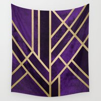 art deco Wall Tapestries featuring Art Deco Royal by Elisabeth Fredriksson