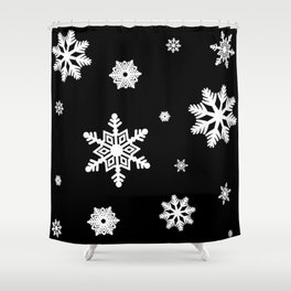 Snowflakes | Black & White Shower Curtain
