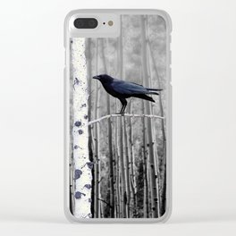 Black Bird Crow Tree Birch Forrest Black White Country Art A135 Clear iPhone Case