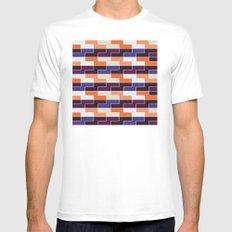 Orange & blue tile pattern White MEDIUM Mens Fitted Tee