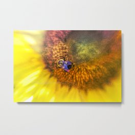 Bold Sunflower with Bumblebee Metal Print