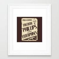 gta v Framed Art Prints featuring GTA Trevor Phillips Enterprises by Spyck