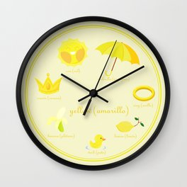 Colors: yellow (Los colores: amarillo) Wall Clock