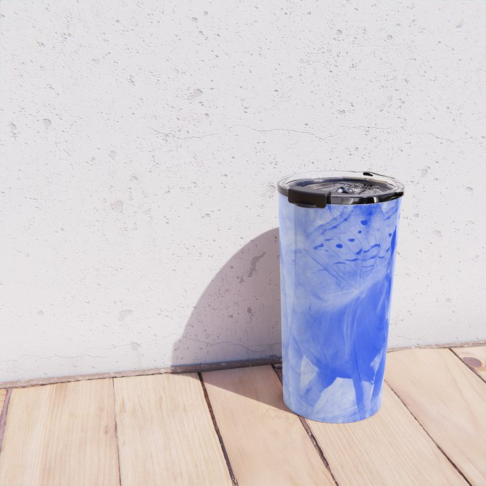 Blue pegasus in mysterious mandala landscape Travel Mug