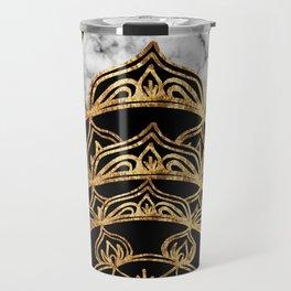 Gold Lace on Marble Travel Mug