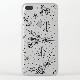 Abstract black white nautical dots floral Clear iPhone Case