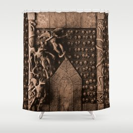 Cave Canem - Wall of Skulls (sepia) Shower Curtain