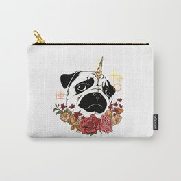 Sparkly Flowers Puggicorn Carry-All Pouch