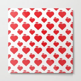 Crown Heart Pattern Red Metal Print
