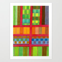 Red Grid with Checks Pattern and vertical Stripes Art Print