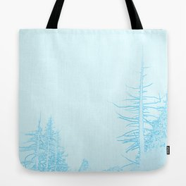 Icy forest in ice blue Tote Bag