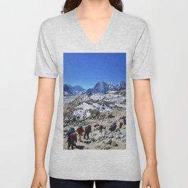 Trekking in Himalaya. Group of hikers  with backpacks   on the trek in Himalayas, trip  to the base  Unisex V-Neck