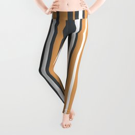 Yellow Ochre Grey Vertical Stripes Leggings