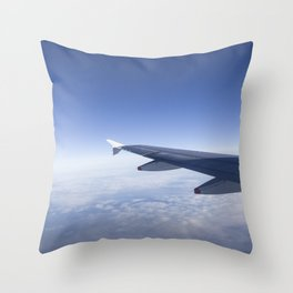 Heavenly Blue Skies Flying Throw Pillow